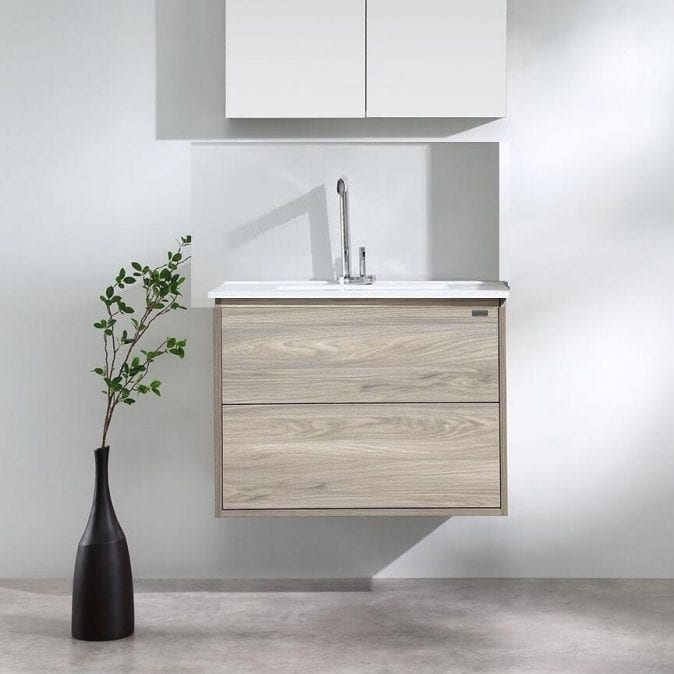 600mm woodgrain vanity